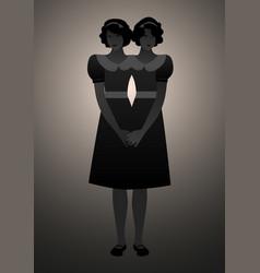 Backlit silhouette siamese sisters dressed in vector