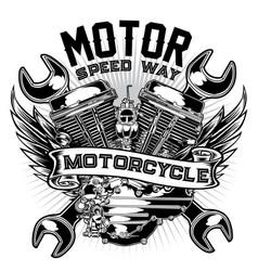 badge bike biker chopper classic club vector image