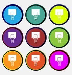 Basketball backboard icon sign nine multi colored vector