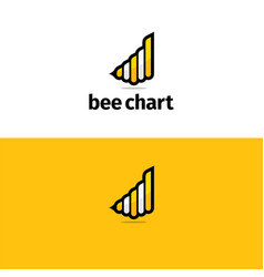 Bee chart logo and icon vector