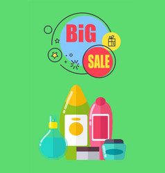 big sale for shampoos and shower gels promo poster vector image