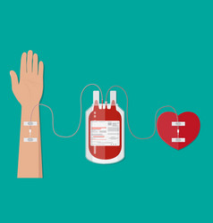 blood bag and hand of donor with heart vector image