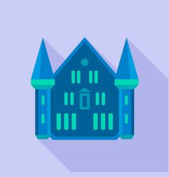 blue castle palace icon flat style vector image