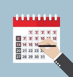 Businessman hands mark on the calendar vector image