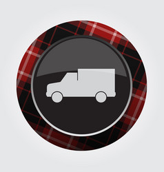 Button with red black tartan - van car icon vector