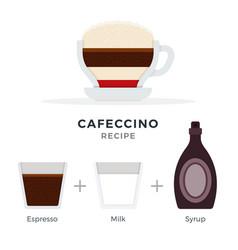 Cafeccino recipe flat isolated vector