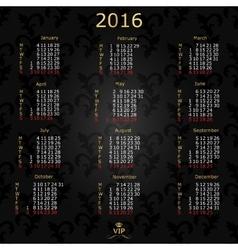 Calendar 2016 English Vintage background vector