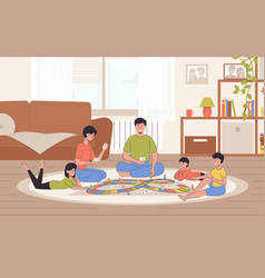 cartoon color characters family spends time home vector image