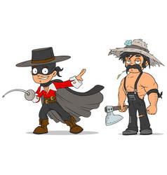 Cartoon masked hero and farmer characters set vector