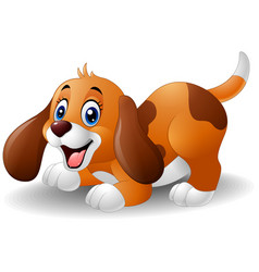 Cartoon playful puppy vector