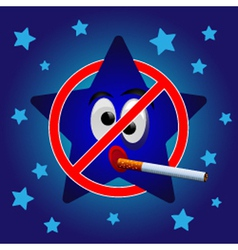 Cartoon star no smoking vector image