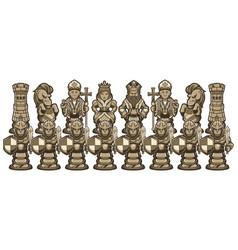 Chess cartoon figures white vector
