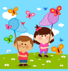 Children catching butterflies vector
