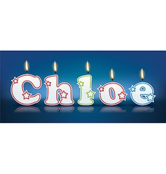 CHLOE written with burning candles vector