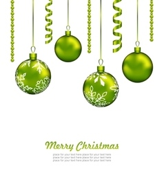 Christmas Card with Green Balls and Streamer vector