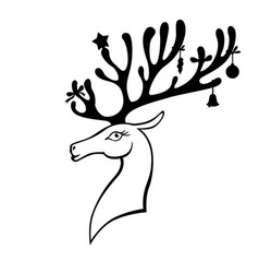 christmas deer decorated with christmas baubles vector image