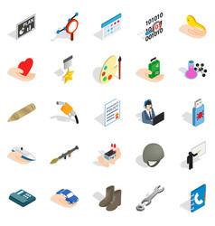 City system icons set isometric style vector