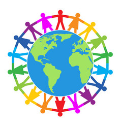 colorful people around world vector image