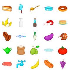 Culinary icons set cartoon style vector