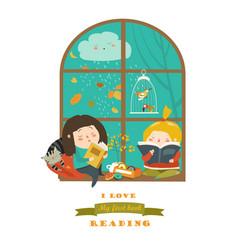 cute girls reading book window vector image
