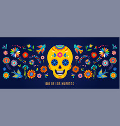 Day of the dead dia de los muertos background vector