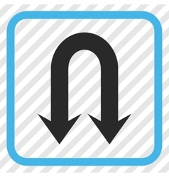 Double Back Arrow Icon In a Frame vector
