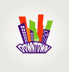 downtown city logo symbol icon vector image
