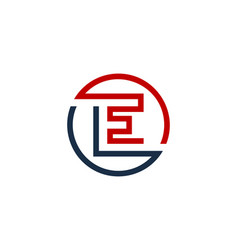 e letter circle line logo icon design vector image
