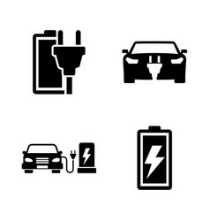 electrocar simple related icons vector image