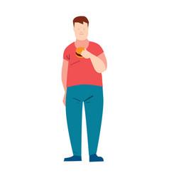 fat guy eating burger vector image