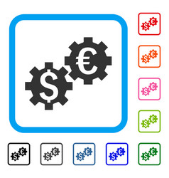 financial mechanics framed icon vector image vector image