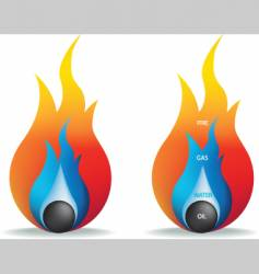 fire gas water and oil vector image