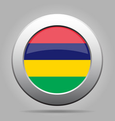 Flag of mauritius shiny metal gray round button vector
