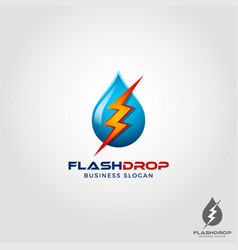 flash drop - electric water logo template vector image