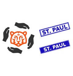 Flat save tigers icon and scratched rectangle st vector