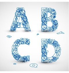 font made from blue letters vector image