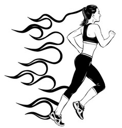 full length side view portrait young running vector image