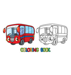 funny small bus with eyes coloring book vector image