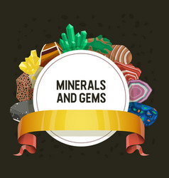 Gem mineral crystalline stone precious vector