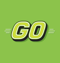 Go white word text on green background as vector