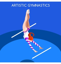 Gymnastics uneven bars 2016 summer games 3d vector