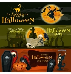 Halloween cartoon banner with text and characters vector image