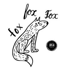 hand-drawn fox vector image