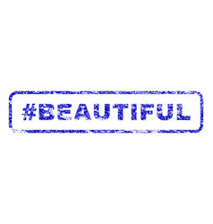 Hashtag beautiful rubber stamp vector