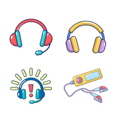 headsets icon set cartoon style vector image