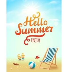 Hello Summer poster Hello Summer inscription on vector