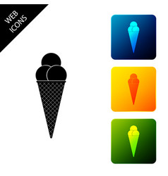 ice cream in waffle cone icon isolated set icons vector image