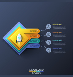 Infographic design template with 4 squared layers vector