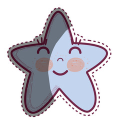 Kawaii happy star with close eyes and cheeks vector