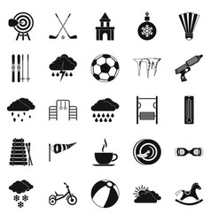 Kid game icons set simple style vector